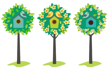 nestling birds: Little birds and birdhouses on trees. Vintage colors