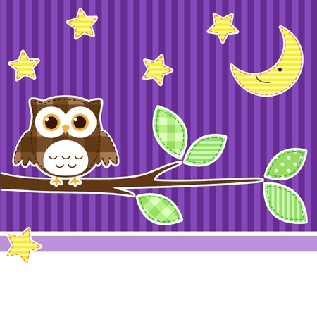 Card with owl on branch at night Vector