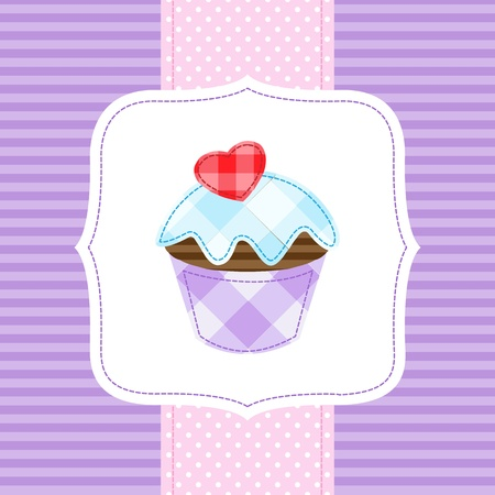 baby cupcake: Vector card with cupcake