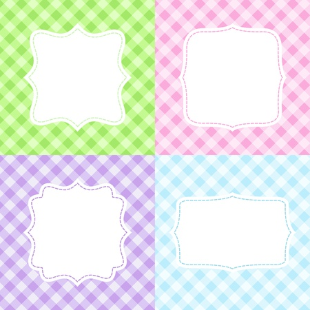 Set of 4 cute cards with gingham pattern Vector