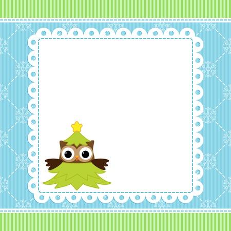 Christmas card with cartoon owl Vector