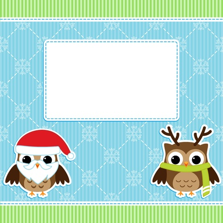 Christmas card with cartoon owls Vector