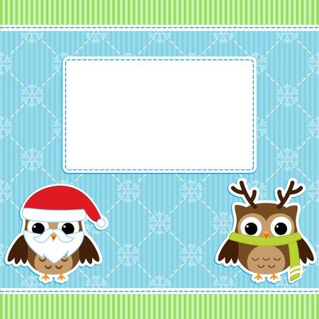Christmas card with cartoon owls Vector