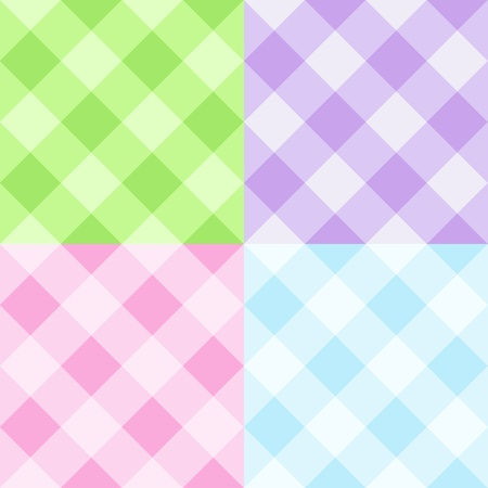 Set of pastel gingham patterns Vector