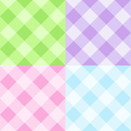 Set of pastel gingham patterns Illustration