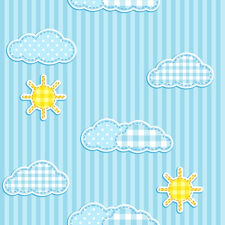 Blue seamless pattern with cute clouds and sun Vector