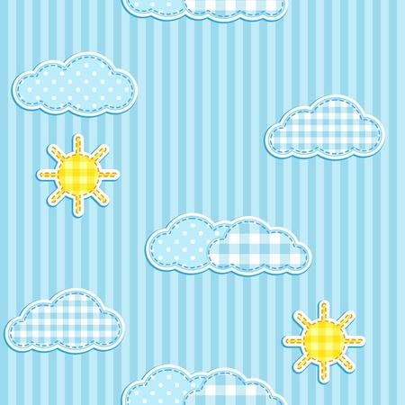 Patrón de azul transparente con linda nubes y el sol