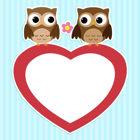 Card with couples of owls on red heart Vector