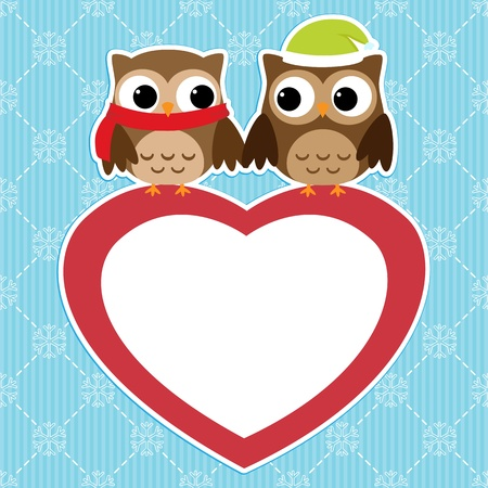 Winter card with couples of owls on red heart Vector