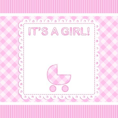 Baby girl Ankunft Vektor-Karte mit Kinderwagen Illustration