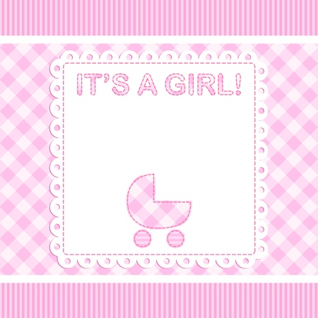 patchwork pattern: Baby girl vector arrival card with pram Illustration
