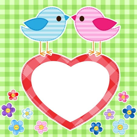 Card with couples of birds on red heart with place for text Vector