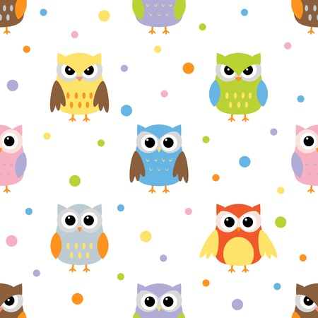 Seamless pattern with colorful owls Illustration