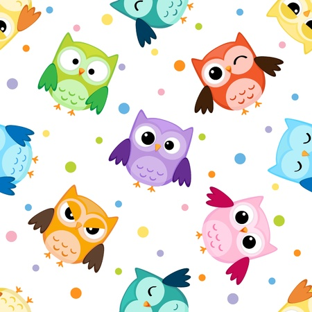 cartoon owl: Seamless pattern with colorful owls Illustration