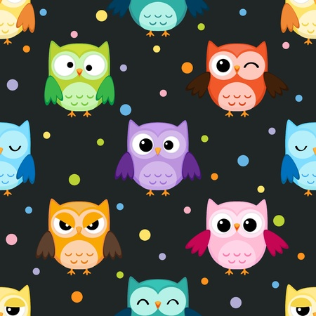 Seamless pattern with colorful owls on dark background Stock Illustratie