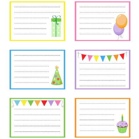 Set of vector birthday party cards Stock Vector - 11597426