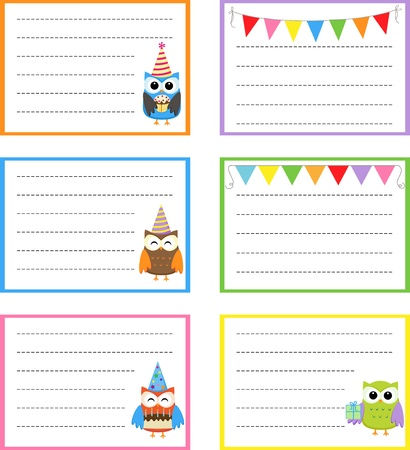 Set of vector birthday party cards with cute owls. Vector