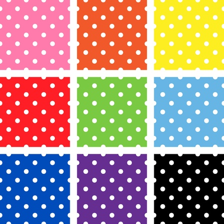 White polka dots on different backgrounds Stock Illustratie