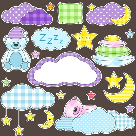 baby scrapbook: Set of vector elements on night theme Illustration
