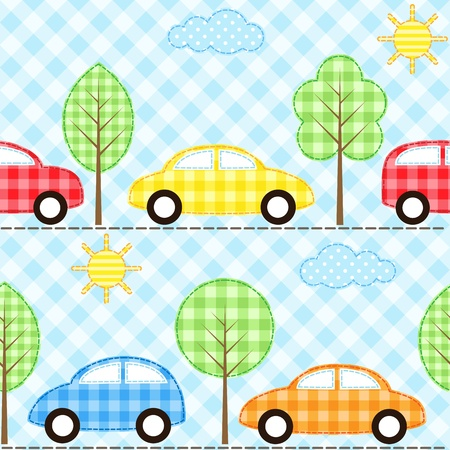 gingham: Seamless fabric background with cars