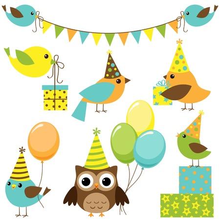 gorros de fiesta: Vector conjunto de aves del partido Vectores