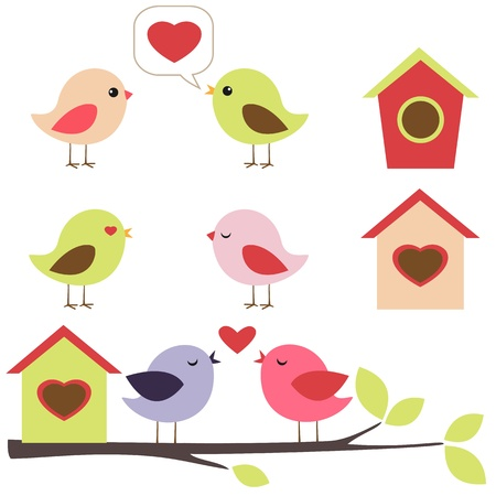 birdhouse: Birds in love vector set Illustration