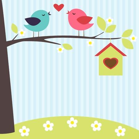 Vögel in der Liebe auf dem blühenden Baum im Frühling