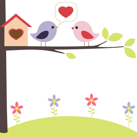 Birds in love on the tree Vector