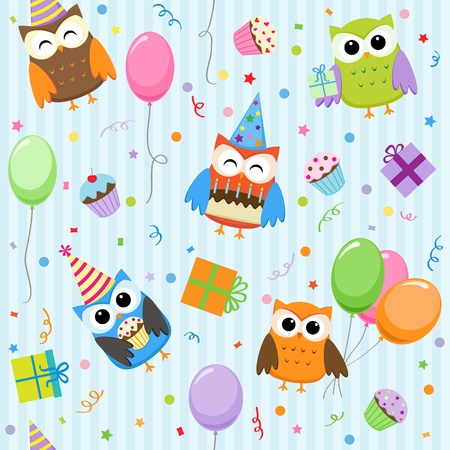 party balloons: Vector background with party owls