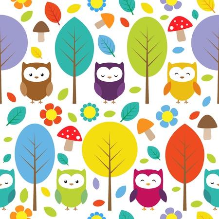 Eulen, Bäume, Blätter, Pilze und Blumen - Muster nahtlose Wald