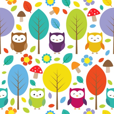 Owls, trees, leafs, mushrooms and flowers - seamless forest pattern Vector