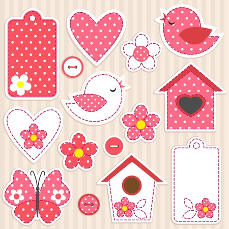 Vector scrapbook elements - love set Vector