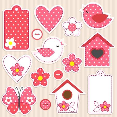 cute: Vector scrapbook elements - love set Illustration