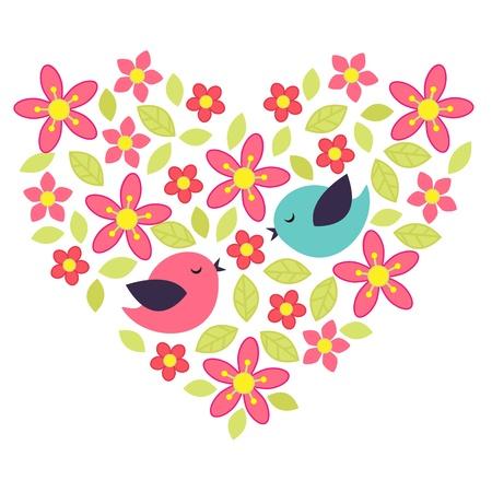 love couple cartoon: Birds in love with flower heart