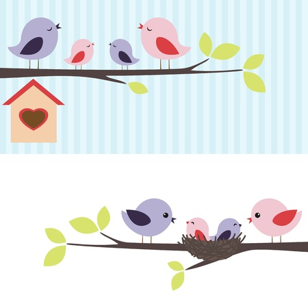 Family of birds sitting on a branch. Two variations. Vector