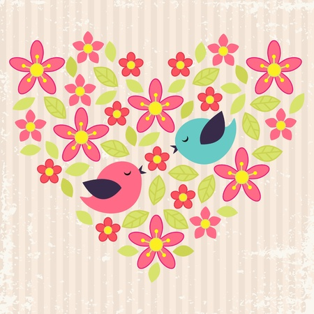stylish couple: Vintage background with birds in love and flower heart