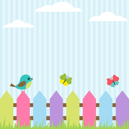 Background with bird and flying butterflies Stock Illustratie