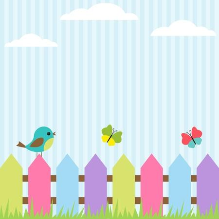 Hintergrund mit Vogel und fliegenden Schmetterlingen