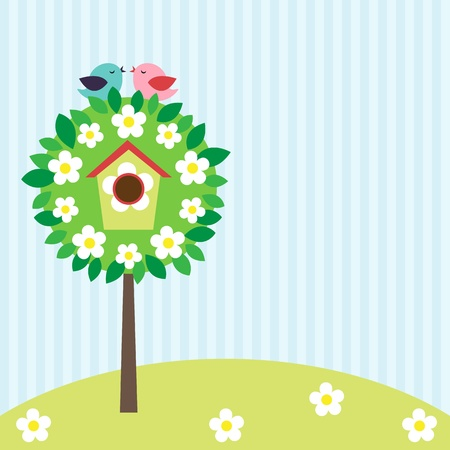 Vector background witn little birds and birdhouse on blooming tree. Stock Illustratie