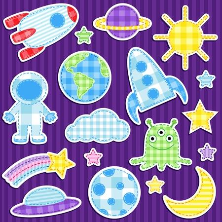 Set cute Vektor bunten Aufklebern Weltraum