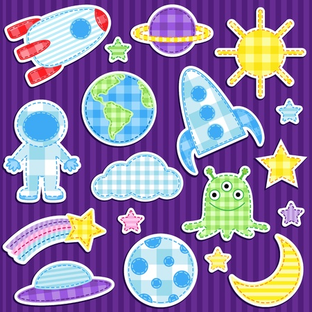 Set of cute vector colorful outer space stickers Ilustração