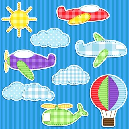 Set cute Vektor bunten Aufklebern Flugzeug