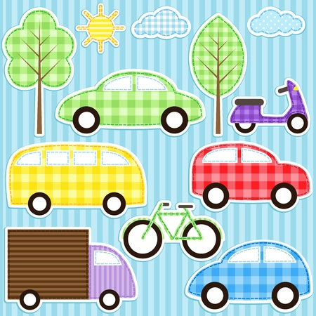 baby stickers: Set of cute vector colorful transport stickers
