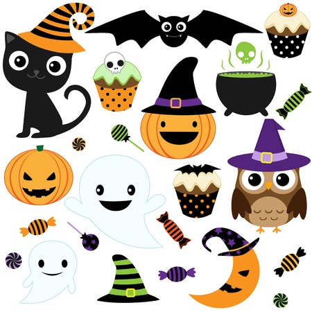 black cat silhouette: Set of cute vector Halloween elements, objects and icons for your design