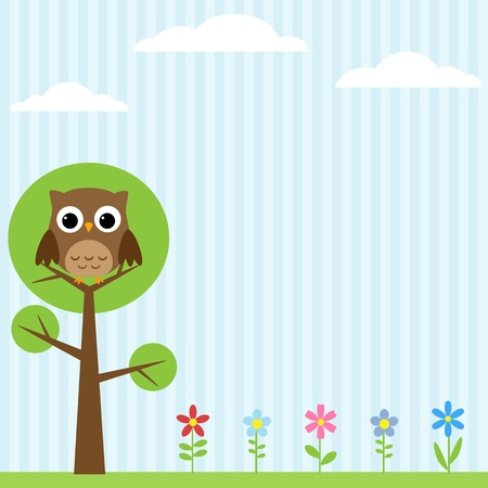Background with flowers and owl sitting on the tree