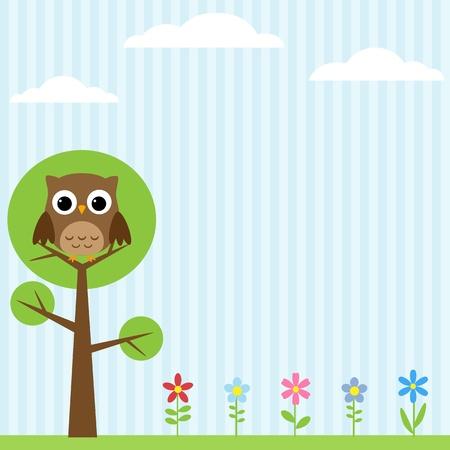 Hintergrund mit Blumen und Eule sitzt auf dem Baum