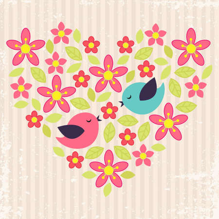 Vintage background with birds in love and flower heart Vector