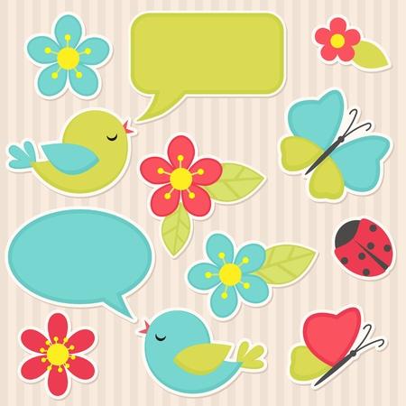 Vector scrapbook elements - flowers and birds