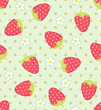 shabby chic: Seamless vector strawberry pattern