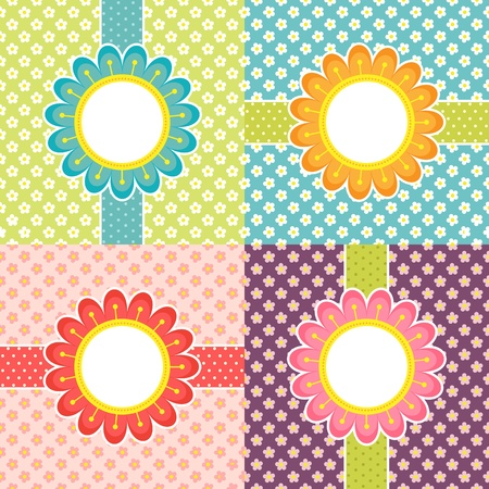 cute border: Floral frames - vector cards set